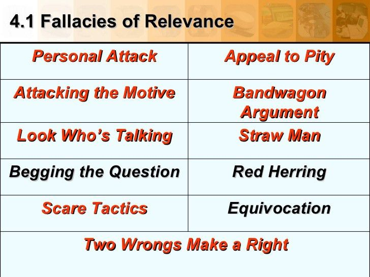 4.1 Fallacies of Relevance Two