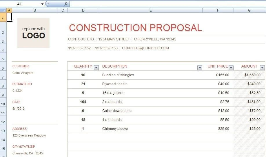 construction bid form template Archives - Onlinenewsvenue For ...