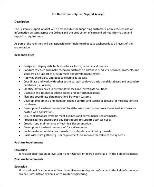 Computer System Analyst Job Description 7167 MOVIEWEB