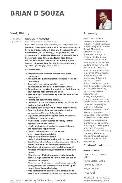 Restaurant Manager Resume samples - VisualCV resume samples database