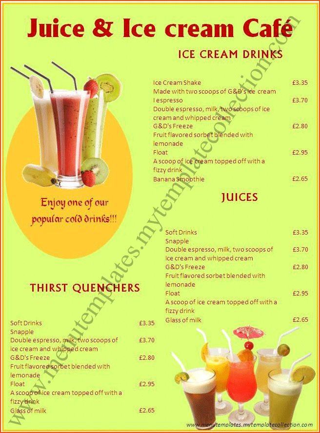 7+ drink menu template - bookletemplate.org