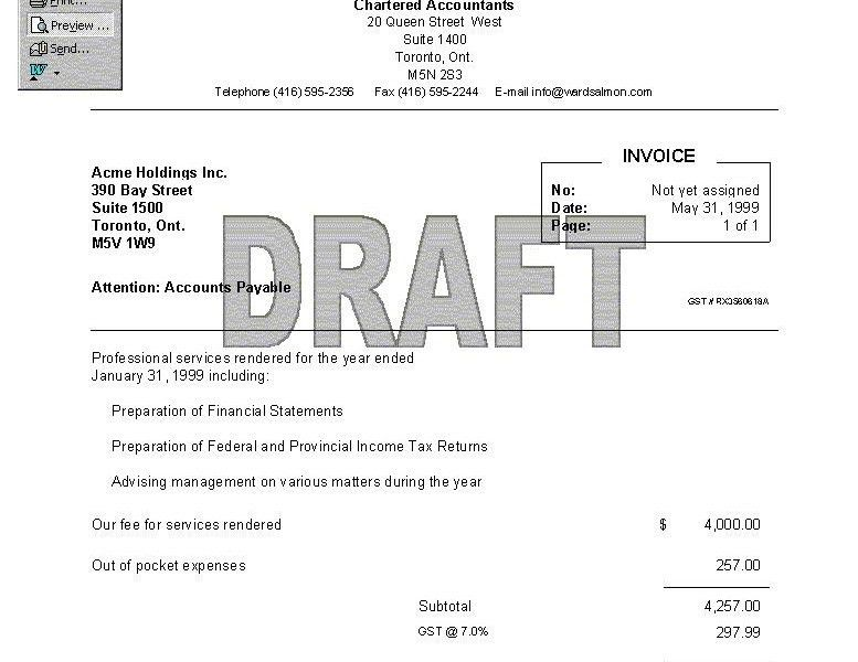 draft invoice template | Free Invoice