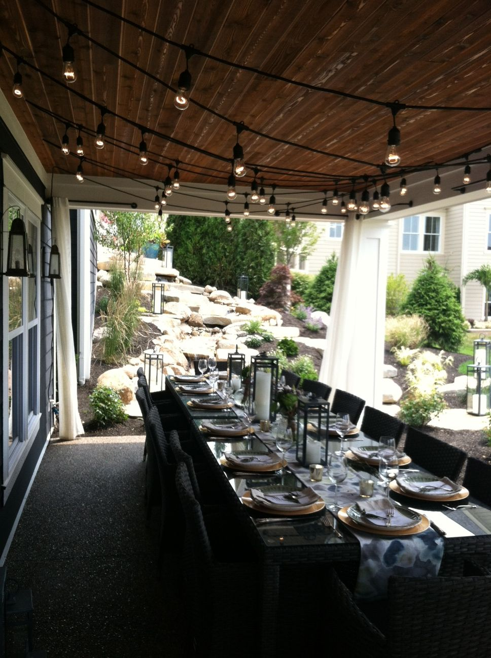 Covered patio lights -  Add Curtains Christmas Lights For Dinner Parties Faux Paint A Outdoor Covered Patiosoutdoor