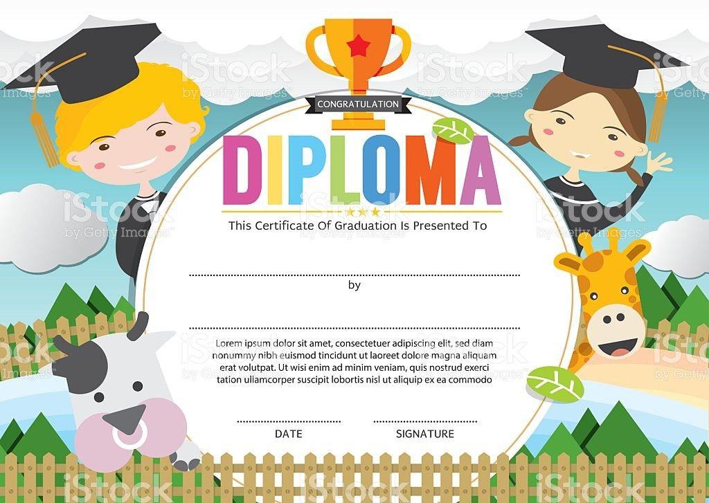 Kids Diploma Certificate Template Vector Illustration stock vector ...