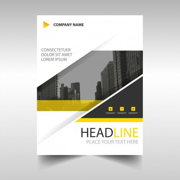 Yellow modern annual report template Vector   Free Download