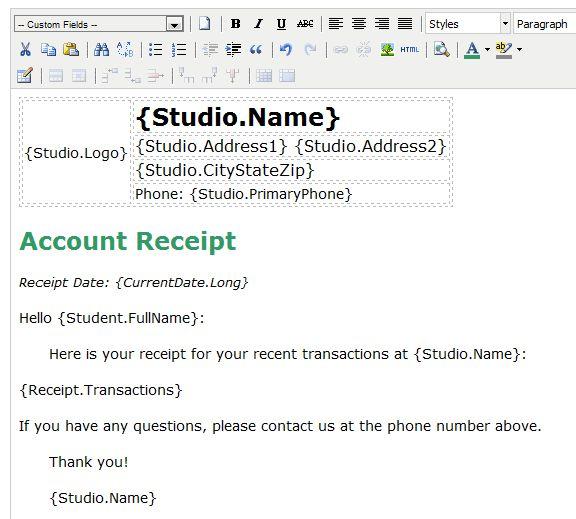 Studioware-Online.com Help - Receipts