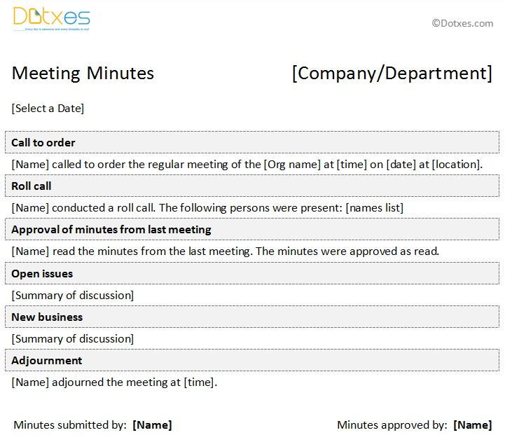 Minutes of Meeting Formal Template - Dotxes