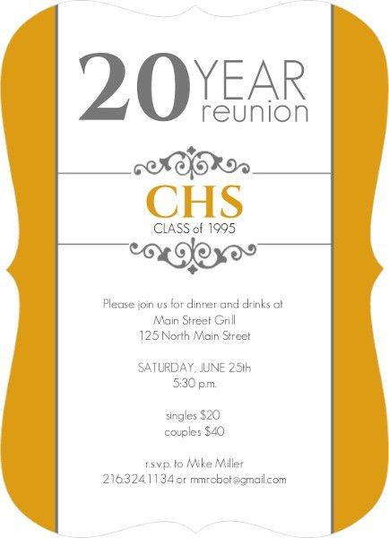 Classic Colors 20 Year Class Reunion Invitation - Invite Shop