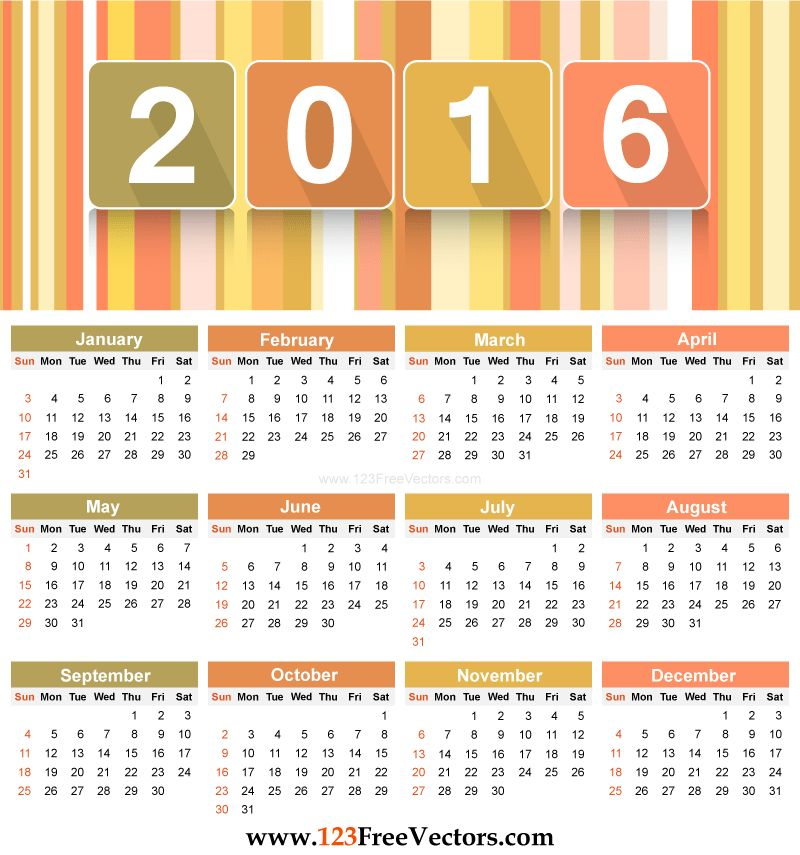 80+ 2016 Calendar Template Vectors | Download Free Vector Art ...