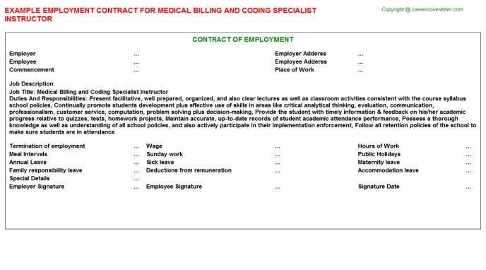 Medical Billing And Coding Specialist Instructor Employment Contract