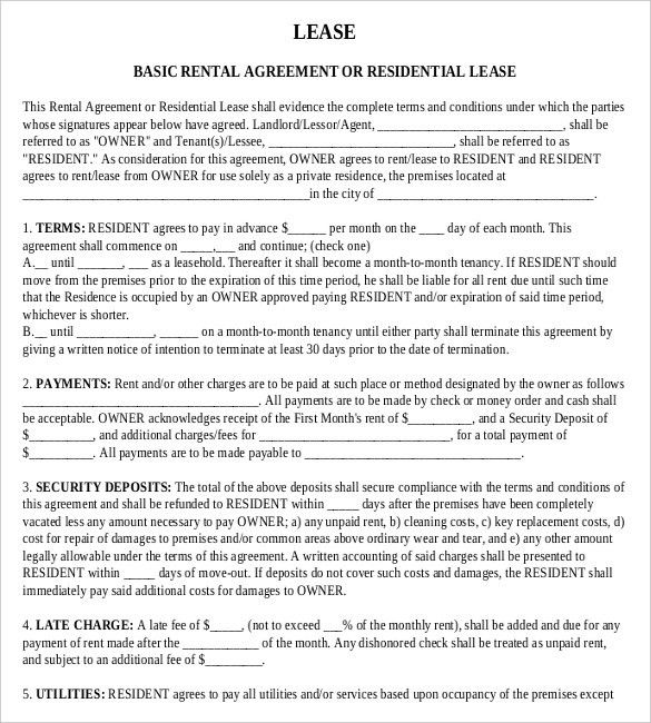 Basic Rental Agreement. Basic Rental Agreement Template Free ...