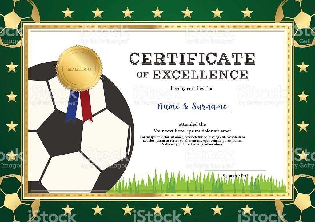 Certificate Of Excellence Template In Sport Theme For Football ...