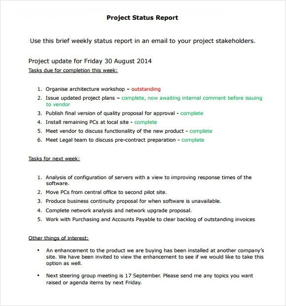 Sample Project Report. Project Status Report Template Free Sample .