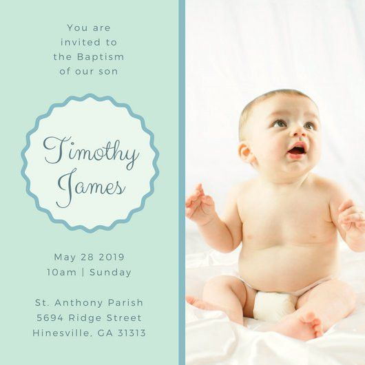 Green and Blue Christening Invitation - Templates by Canva