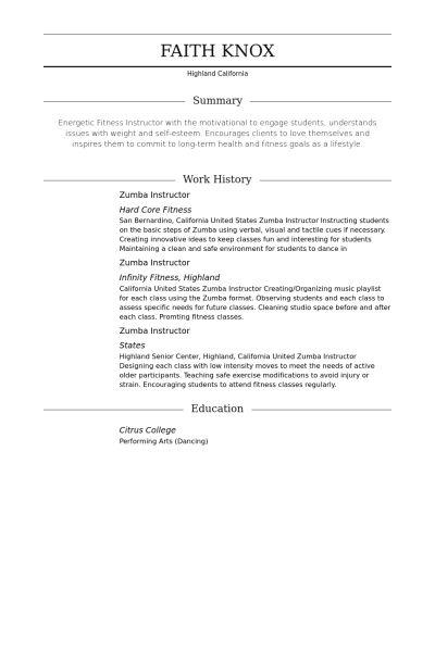 Zumba Resume samples - VisualCV resume samples database