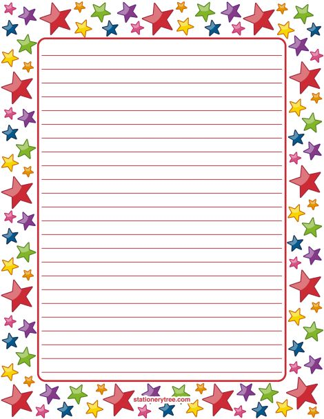 Printable star stationery and writing paper. Multiple versions ...