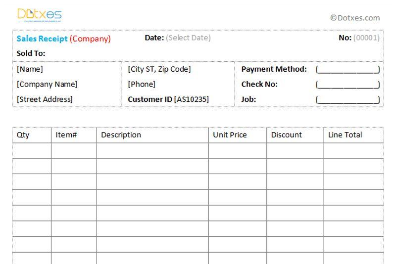 Sales Receipt Template 1.1 - Dotxes