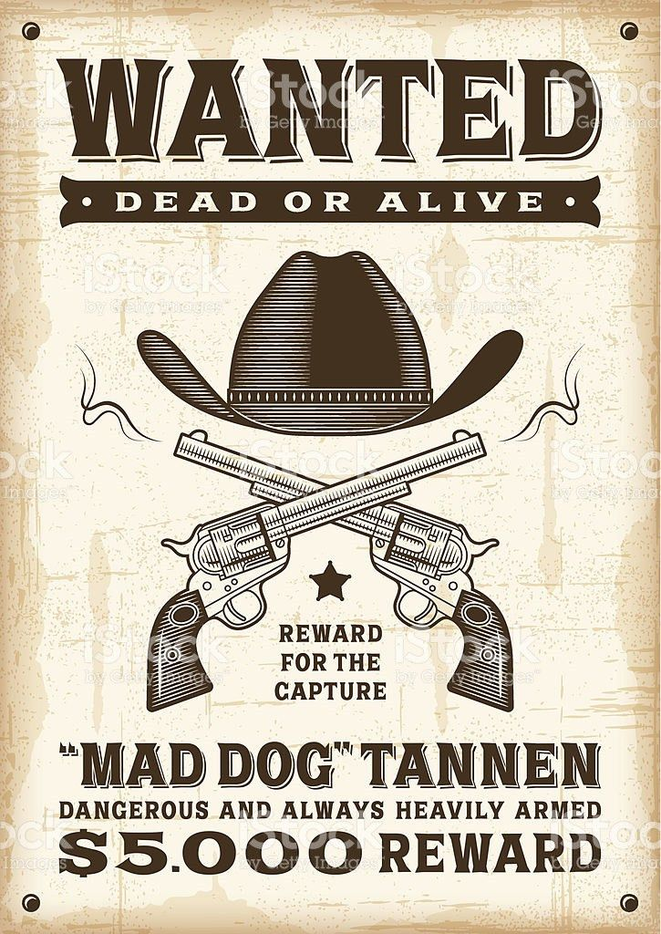 Vintage Western Wanted Poster stock vector art 501239909 | iStock