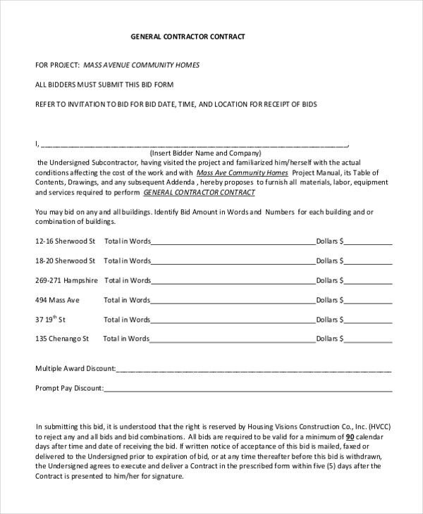 Sample Contractor Contract Form   7+ Free Documents In PDF