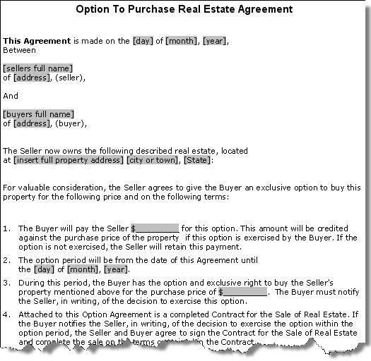 Property Purchase Option Agreement Contract