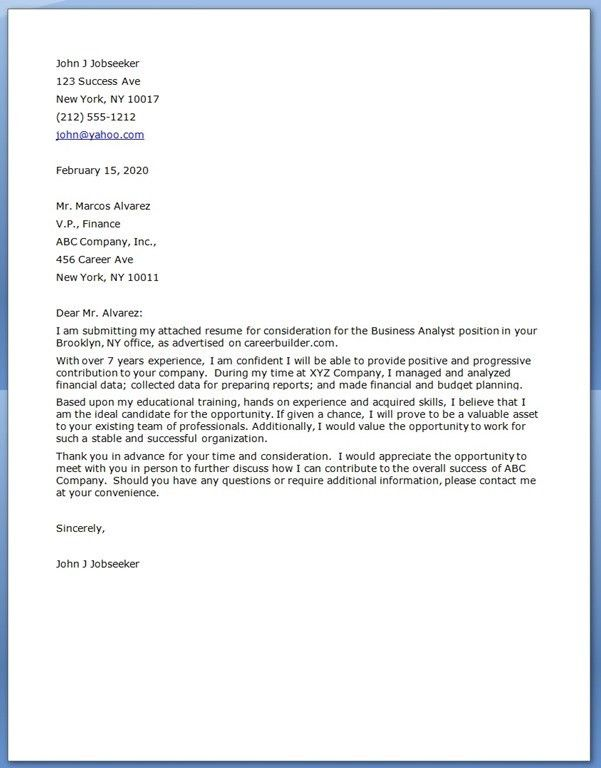 Analyst Cover Letter Examples inside Analyst Cover Letter - My ...