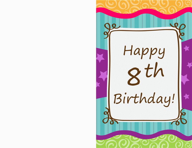 Birthday card - stars and stripes (kids, half-fold) - Office Templates
