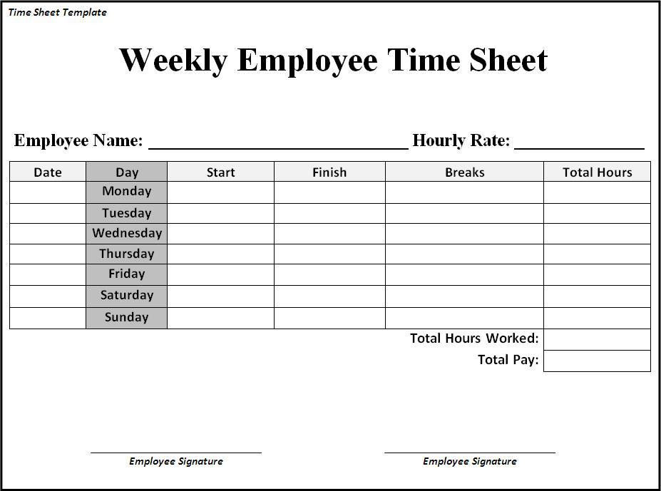 Time Sheet Templates | rapidimg.org
