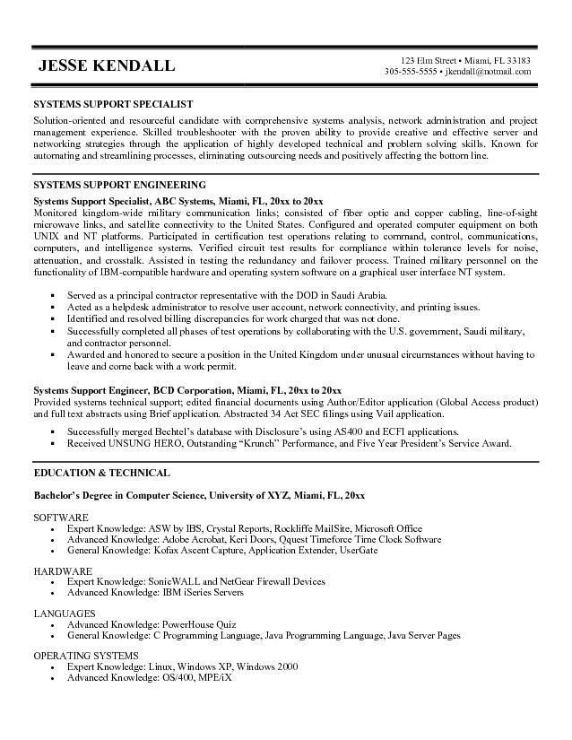 Ideas of Technical Support Specialist Resume Sample About Form ...