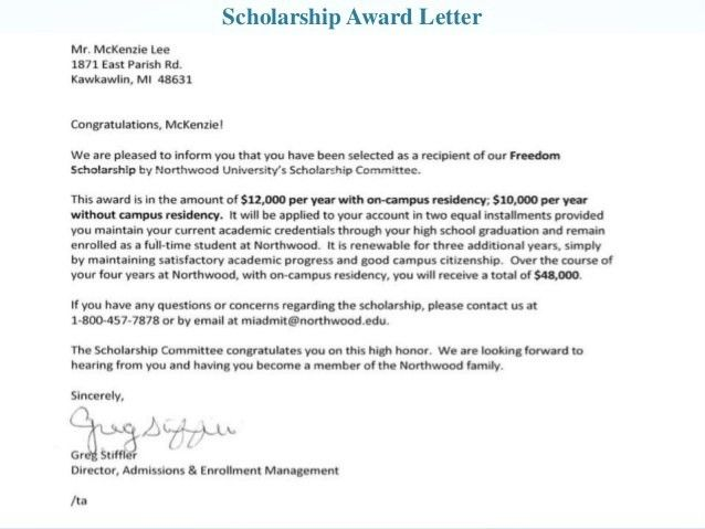 scholarship awarded letter - thebridgesummit.co