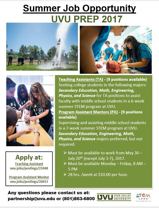 Paid Job – UVU School-Community-University Partnership (SCUP ...
