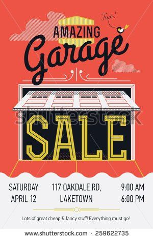 Creative vector garage or yard sale event announcement printable ...