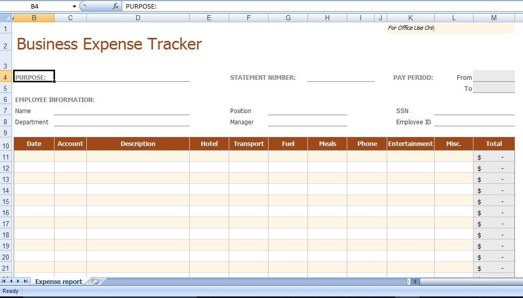 8+ Business Expense Tracker Templates - Excel Templates