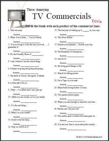 This TV Commercials Trivia game will certainly test the memory ...