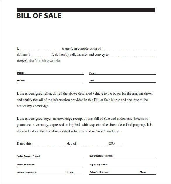 Bill Of Sale For Car Template | Template idea
