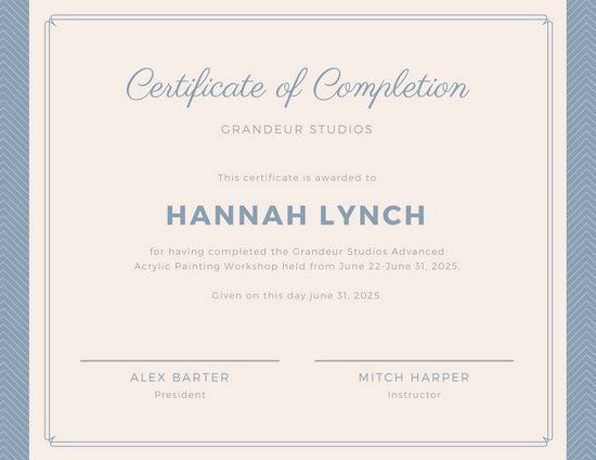 Blue Border Workshop Completion Certificate - Templates by Canva