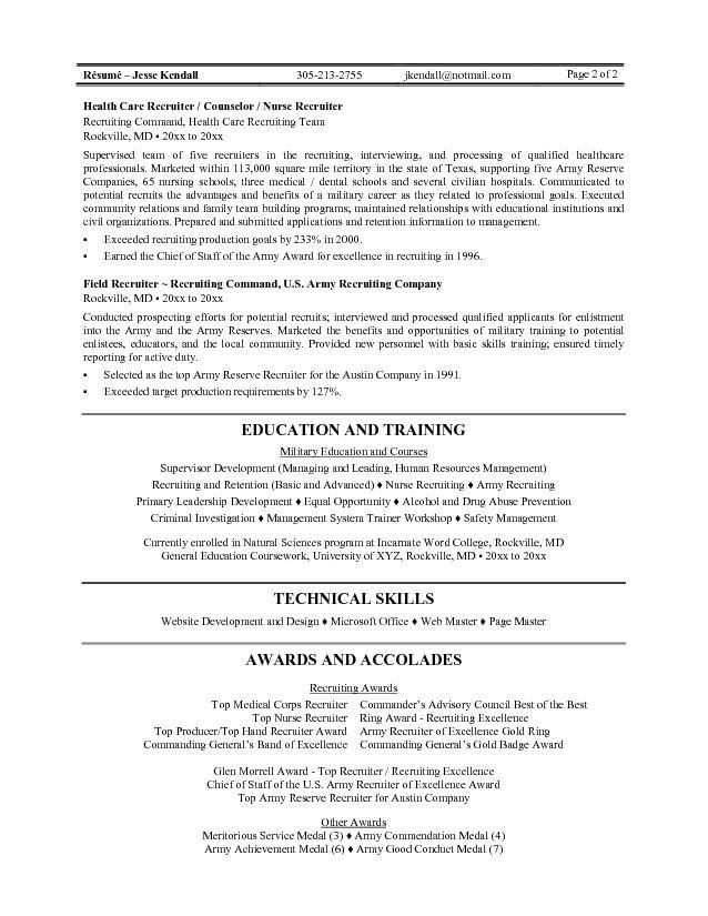 army recruiter resume