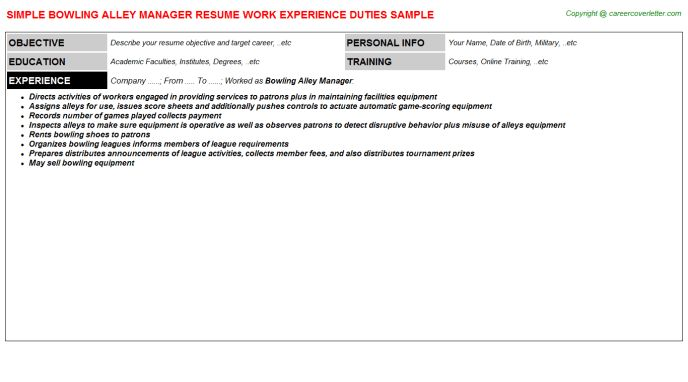 Bowling Alley Manager Resume Sample