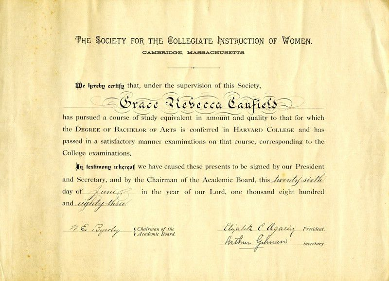 1883 Certificate awarded by the Society for the Collegiate ...