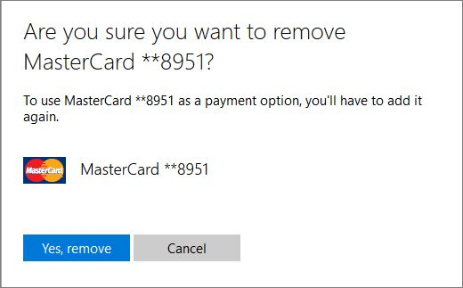 Add, update, or remove a credit card or other payment option for ...