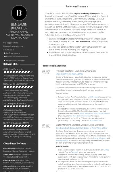 Online Marketing Resume samples - VisualCV resume samples database