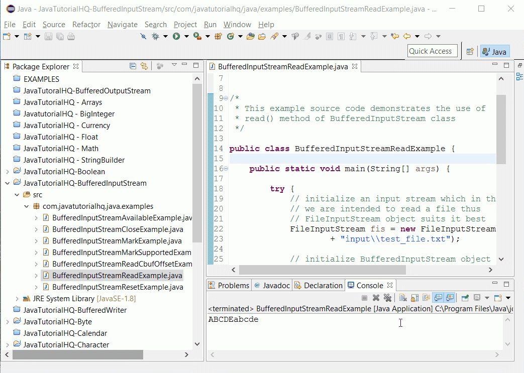 Java BufferedInputStream read() method example