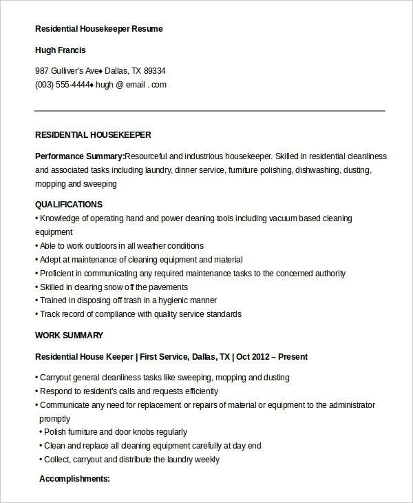 Housekeeping Resume Example - 9+ Free Word, PDF Documents Download ...