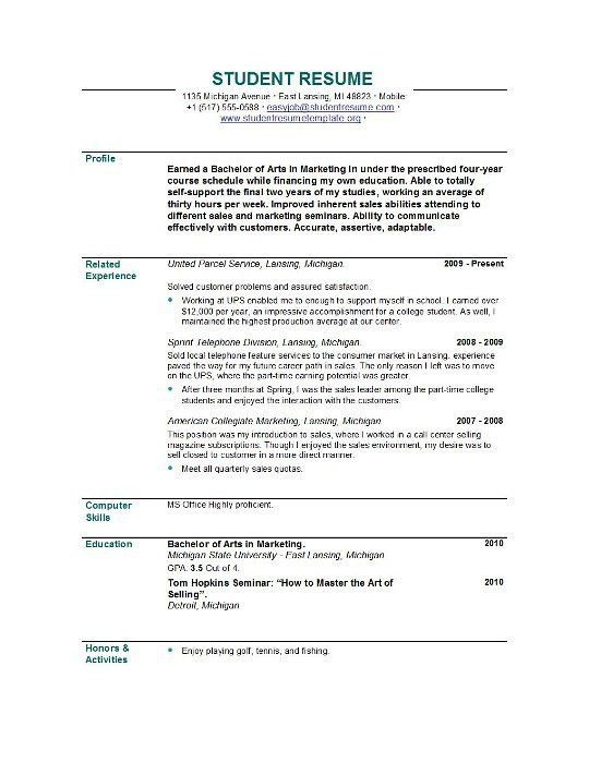 Student Resume Examples. Example Student Resumes High School ...