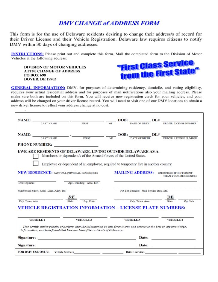 DMV Change of Address Form - Delaware Free Download