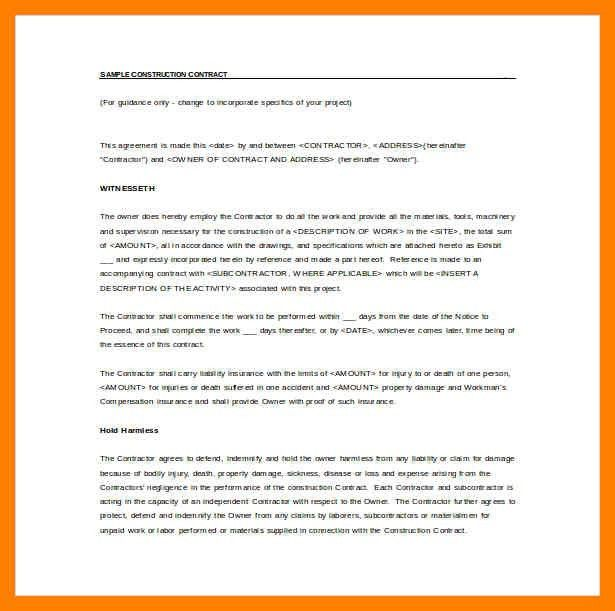 4+ simple construction contract pdf | simple cv formate