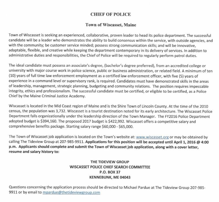 Job Opportunity: Chief of Police, Wicasset, Maine - NEACOP