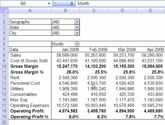 profit and loss excel sheet - Template
