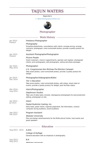 Freelance Photographer Resume samples - VisualCV resume samples ...