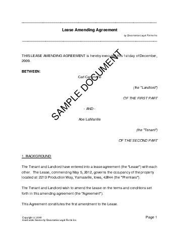 Lease Amending Agreement (India) - Legal Templates - Agreements ...