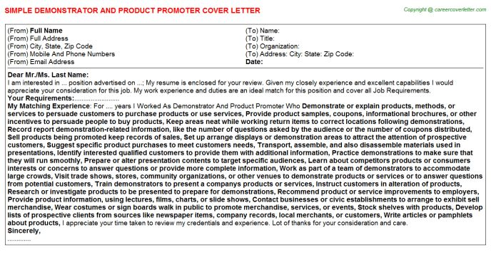 Demonstrator And Product Promoter Cover Letter